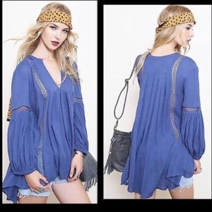 Free People Just the Two of Us Blue Tunic